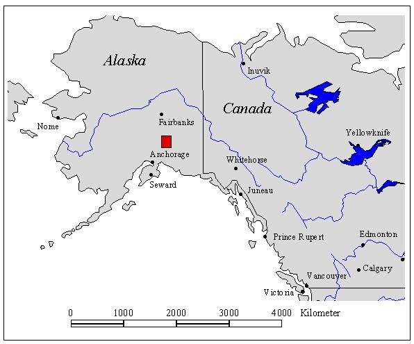 Fig. 1: Location of the investigation area in Southcentral Alaska (red symbol)